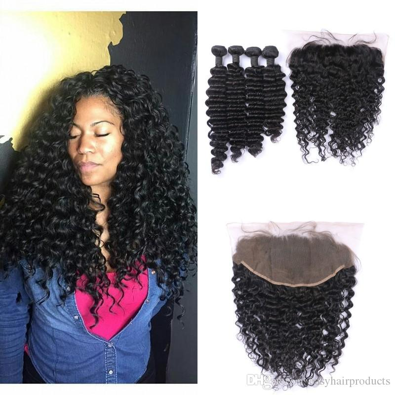 Human Hair Weave Bundles With Frontal Lace Closure 136inch Virgin