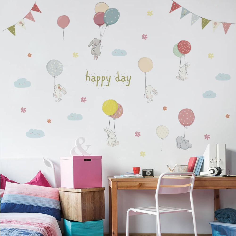 DIY Kids Room Wall Decorative Stickers Festival Decor For Living Room Kids  Room Cartoon Balloon And Rabbit Wall Decal Murals Removable Vinyl Sticker  Wall ...