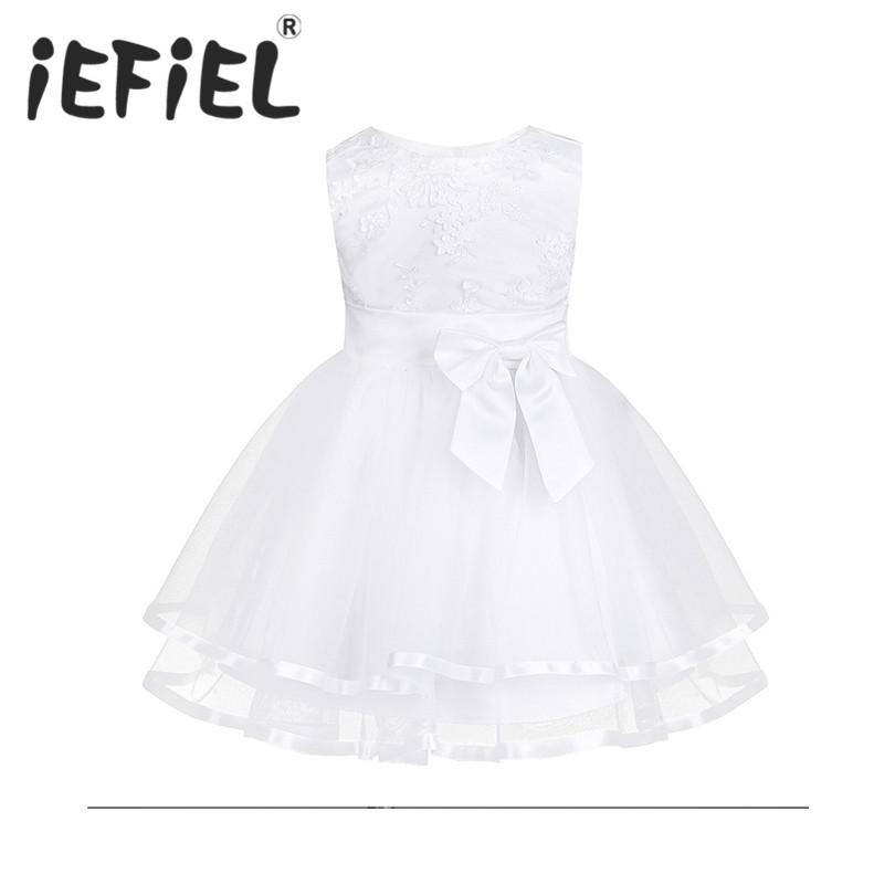 b9717ca9 2019 IEFiEL White Baby Girls Dress Big Bowknot Infant Party Dress For Toddler  Girl First Brithday Baptism Clothes Formal Tutu Dresses Y18102008 From  Gou08, ...