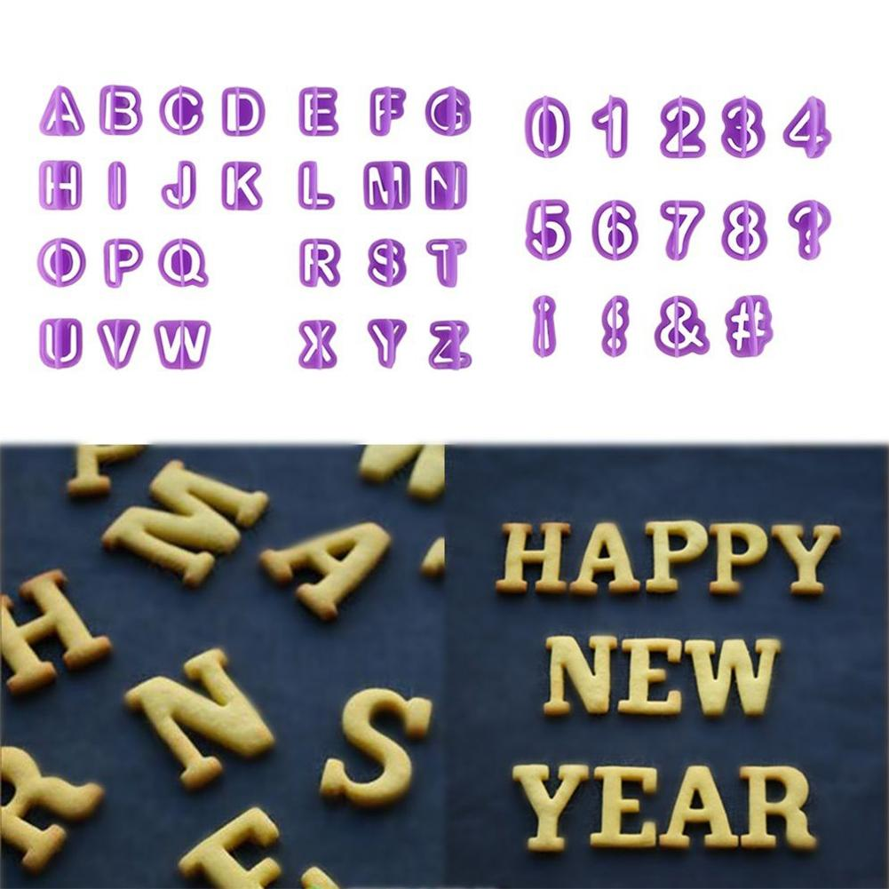 40pcs Alphabet Number Letter Character Fondant Cake Decorating Set Icing Cutter Mold Moulds Cake Tools
