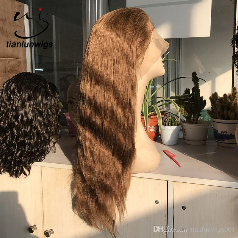 human hair 150% density full lace wigs with baby hair, light brown human hair lace wigs, #virgin brazilian straight hair