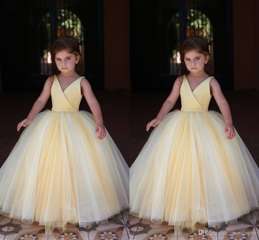 Lovely Yellow Ball Gown Girl\'S Pageant Dresses Sleeveless Tulle ...