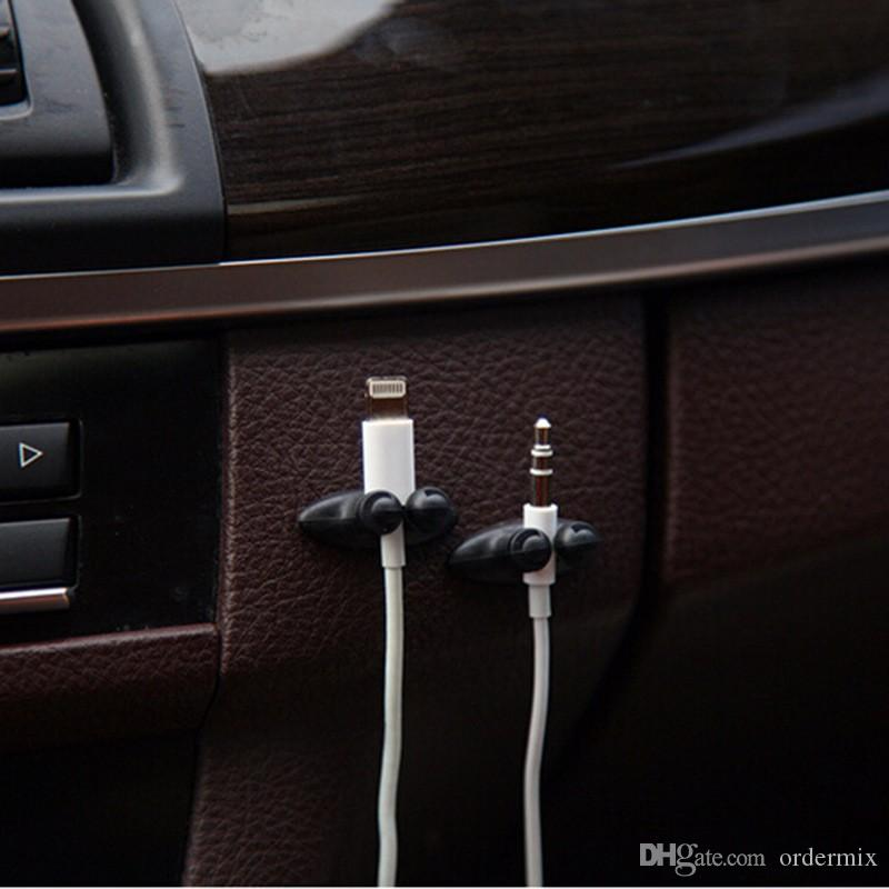 Автомобильный зажим USB Кабель с фиксированным зажимом Держатель зарядного кабеля Клей Автомобильное зарядное устройство Застежка на линии USB-кабель Автомобильный зажим