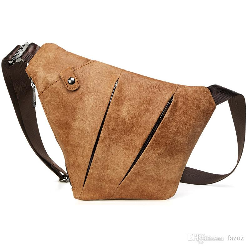 8030ffc0c1a3 Brown Matte Genuine Leather Shoulder Messenger Crossbody Bag Casual Travel  Daily Pack Sling Bags Chest Bag For Men Men Shoulder Bag Men Cross Body Bag  ...