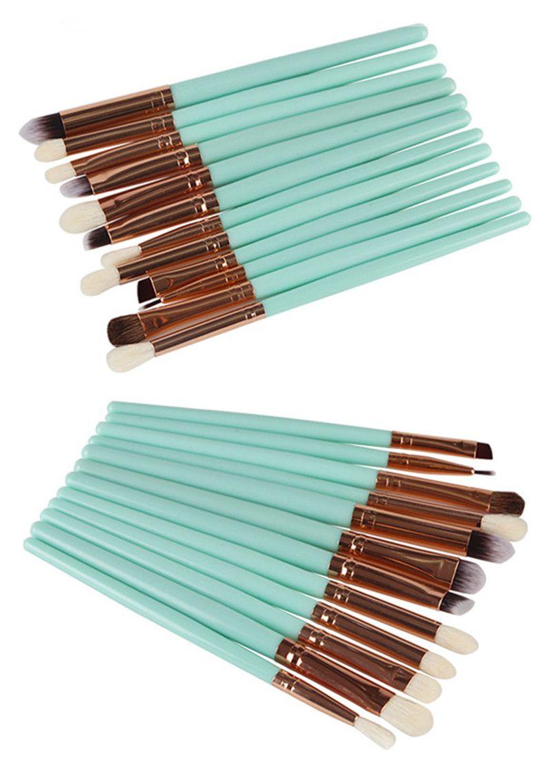 12 Adet Keçi Saç Göz Makyaj Fırçalar Seti Profesyonel Pudra fondöten Kaş Göz Farı Eyeliner Burun makyaj fırça Güzellik Aracı