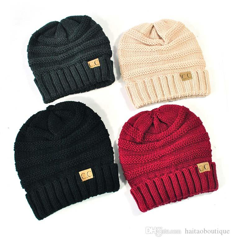 eb0895c4893 CC Beanies Winter Hats   Caps Women Knitted Wool Cap Men Casual Unisex  Solid Color Hip Hop Skullies Beanie Warm Hat Baseball Hat Beach Hats From  ...