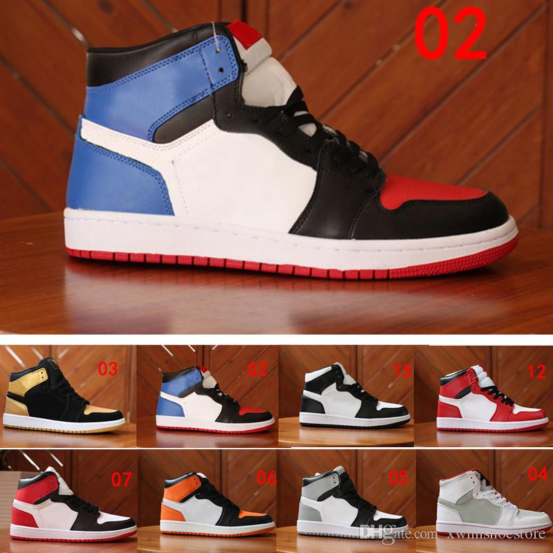 new product 057dd e09ce Großhandel Nike Air Jordan 1 Aj1 Retro Top Basketball Schuhe Männer 1 Og  Turnschuhe Aaa Qualität Mandarinente Schwarz Rot Weiß Männer Sportschuhe ...