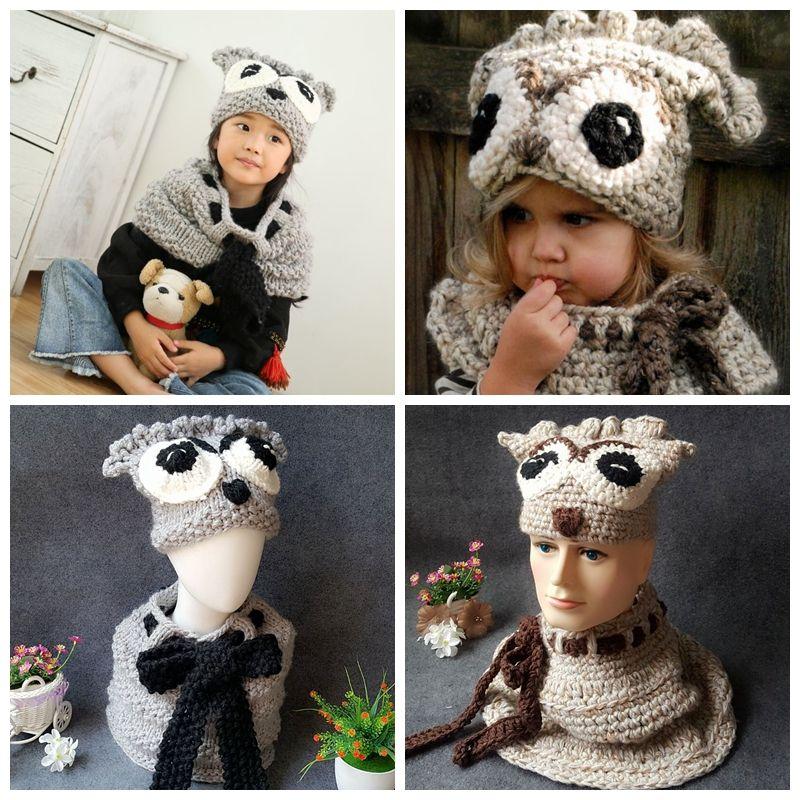 e65261150 Kids owl knitting Hats scarf set baby knitted Beanies cartoon winter Wool  animal cap INS children Knitted neckerchief hat GGA1025