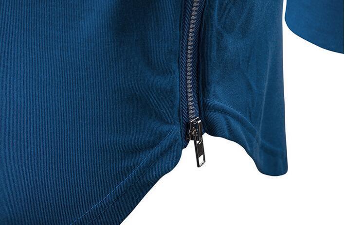 Neue Tendenz-Mann-GroßhandelsT-Shirts Superlanges langärmliges T-Shirt Hip Hop-Bogensaum mit gebogenem Rand-seitlichem Reißverschluss übersteigt T-Stück