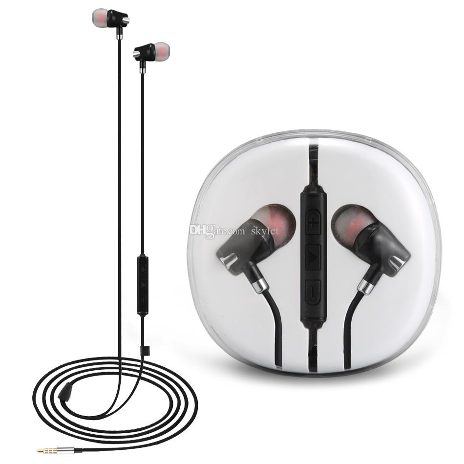 For Samsung Galaxy S6 S7 Headphones In-ear Earphones 3.5mm Earbuds With Mic Volume Cotrol For iPhone 6 6S Stereo Headset With Crystal Box