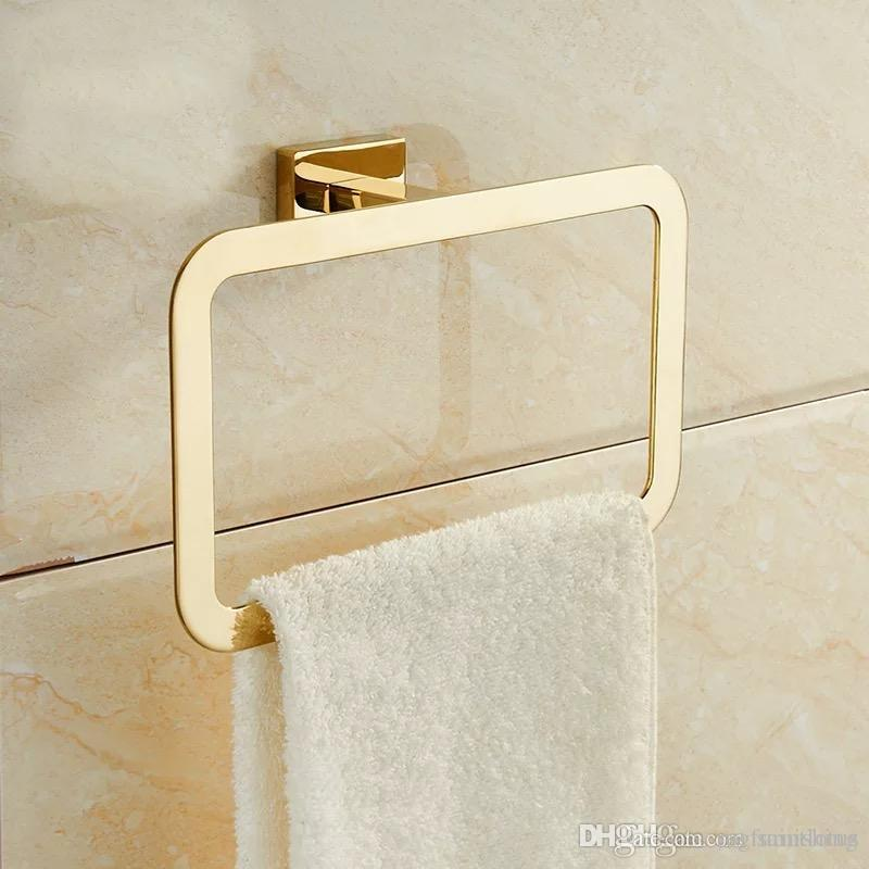 Bon Gold Towel Rings Square Shape Wall Mounted Bath Towel Holder Polished  Stainless Steel Towel Bar Rack Bathroom Hardware Bathroom Towel Ring Online  With ...