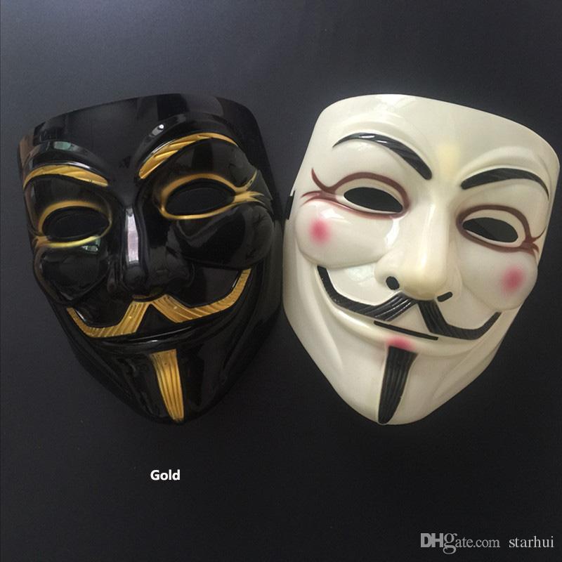 DHL V Maske Maskerade Masken Für Vendetta Anonym Valentine Ball Party Dekoration Vollgesichts Halloween Scary Cosplay Partei Maske WX9-391
