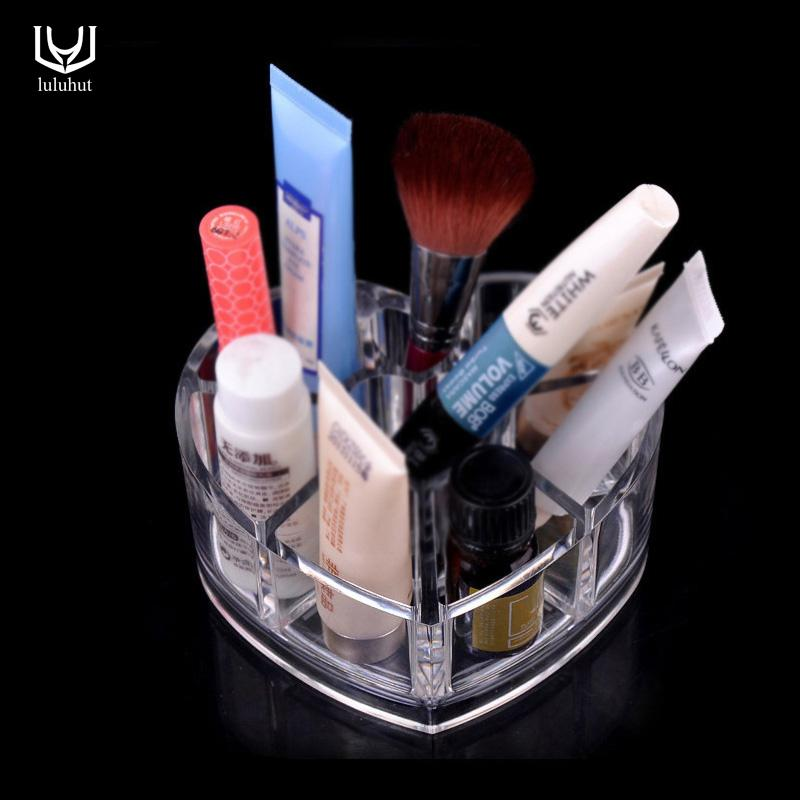 2018 Whole Acrylic Makeup Organizer Heart Shape Desk Accessories Lipstick Brush Plastic Storage Desktop Box Jewelry From Luzhenbao524