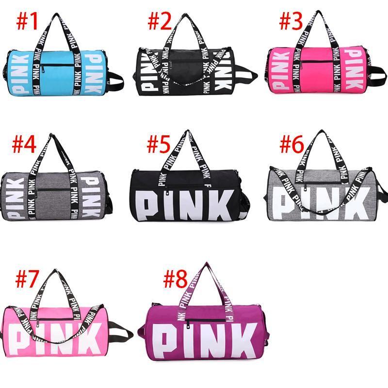 d23429119025 Cheap Brand Love Pink Letter Gym Bag Large Men Women Travel Hangbag Waterproof  Duffel Luggage Bags