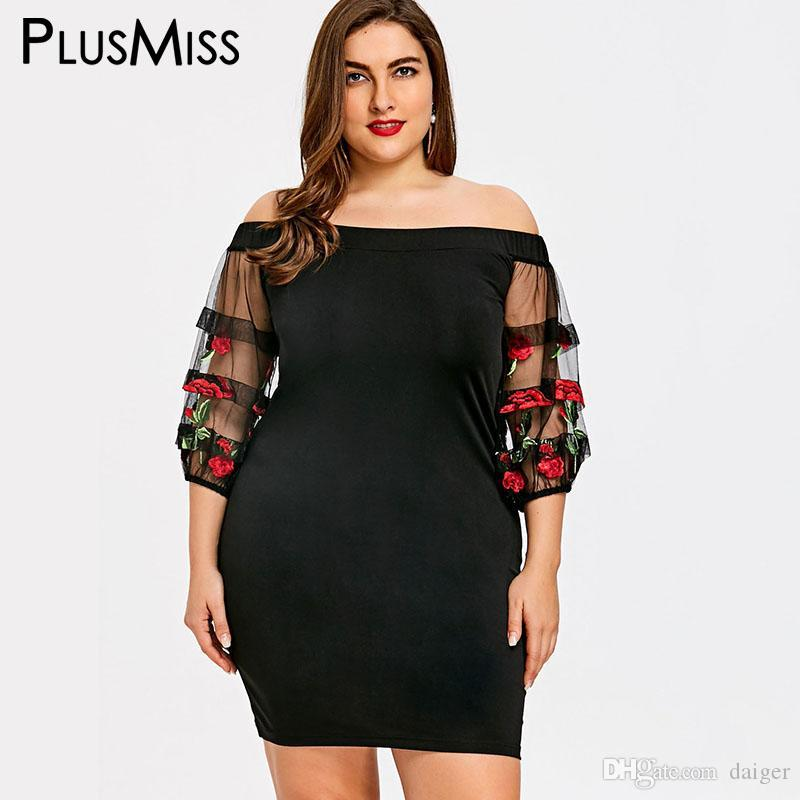 Plusmiss Plus Size 5xl Sexy Sheer Floral Embroidered Off Shoulder