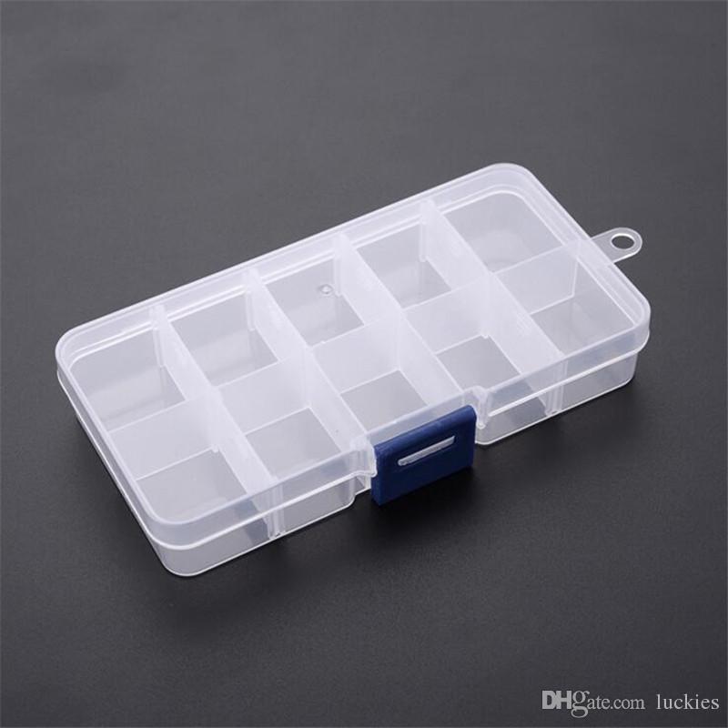 10 cuadrículas caja de almacenamiento de joyas plástico transparente caja de visualización del organizador para perlas anillo pendientes joyería