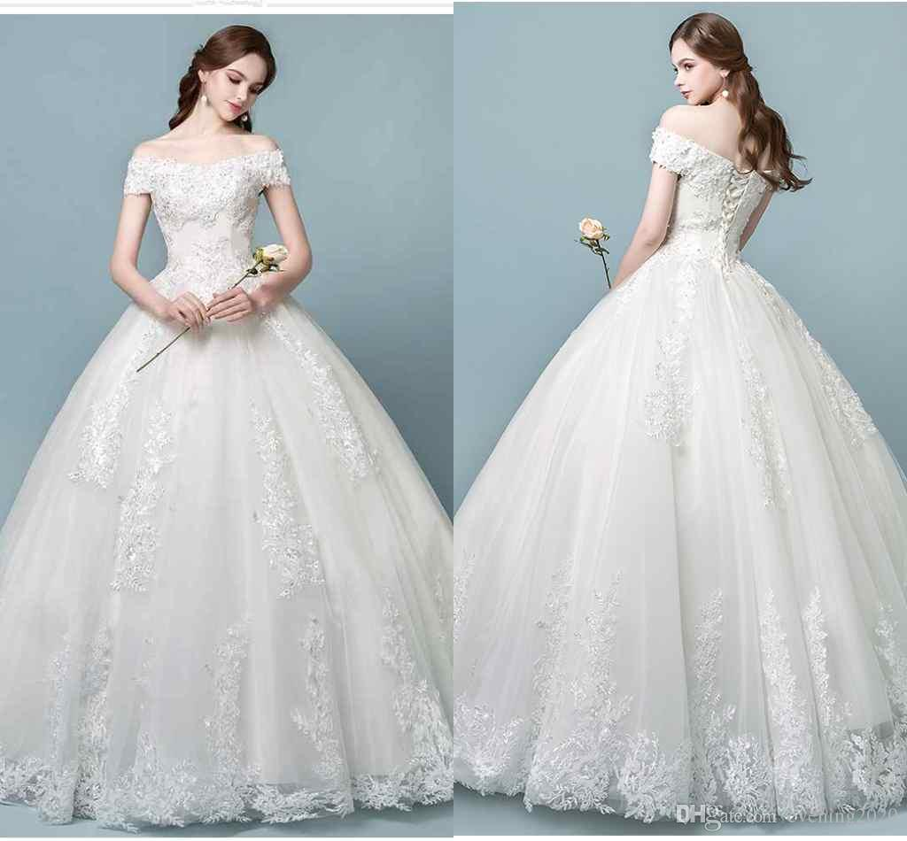 Luxurious Ball Gown Wedding Dresses Off-Shoulder Lace Appliques ...