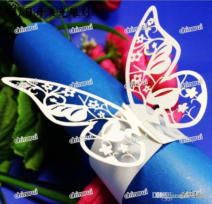 2019 Wholesale Flower Butterfly Paper Napkin Rings Wrap Clip Towel