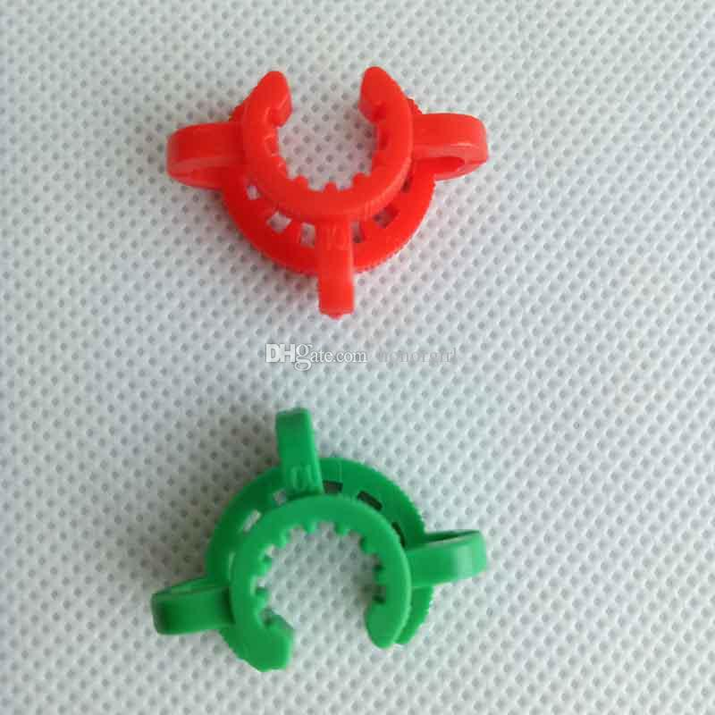 10mm 14mm 19mm 플라스틱 켁 클립 K-Clips 실험실 실험실 클램프 클립 플라스틱 봉 유리 뚜껑 물 파이프 어댑터 흡연 도구