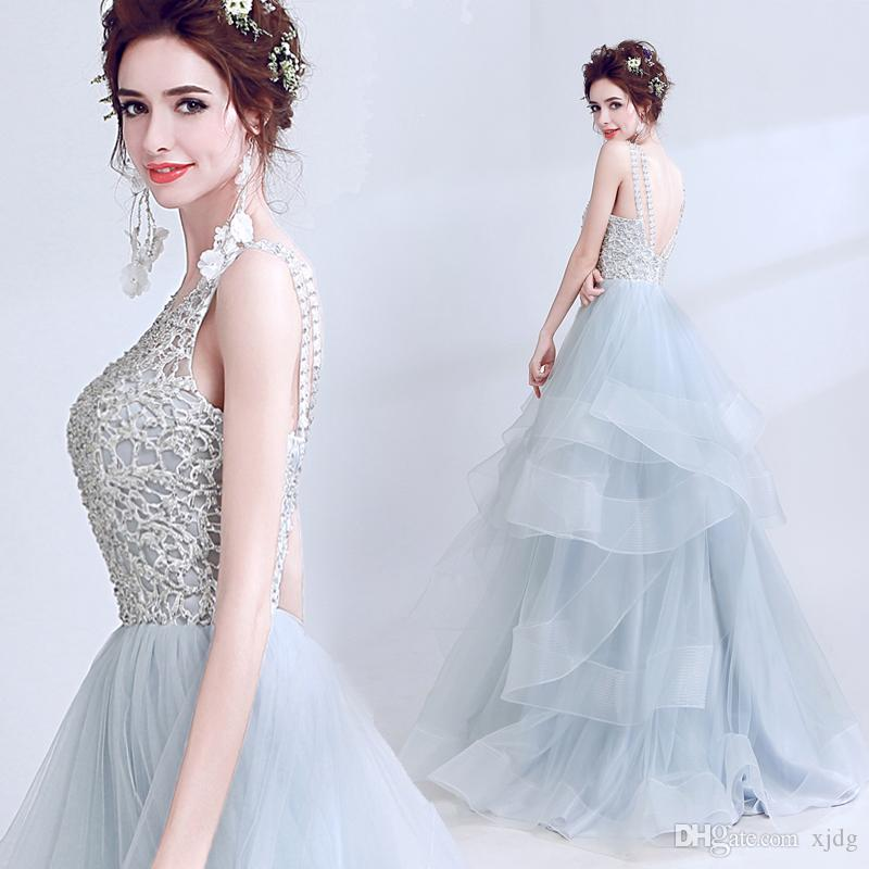 Real Images Gray Sequin A line backless Ruffles Sweep Train major beading embroidery party Celebration prom dress performance evening gowns