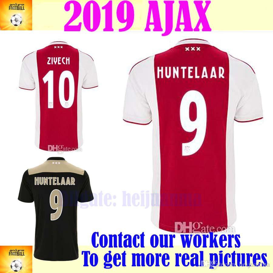 6b13b687b 2019 Ajax Home Red White Soccer Jersey 18 19 Ajax Away Soccer Shirt 2019  Customized 9 HUNTELAAR 34 NOURI 24 DOLBERG Football Uniforms From Heijuanma