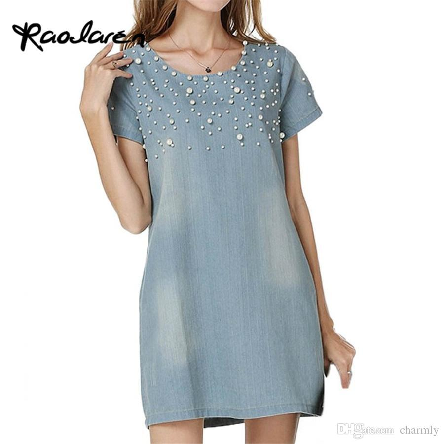 399c052bbad1 2017 Plus Size Dress Women Jeans Sundress Women s Casual Denim Dress  Vestido Summer Spring Style Beaded Evening Party Tunic Dresses Dress Women  Party Dress ...