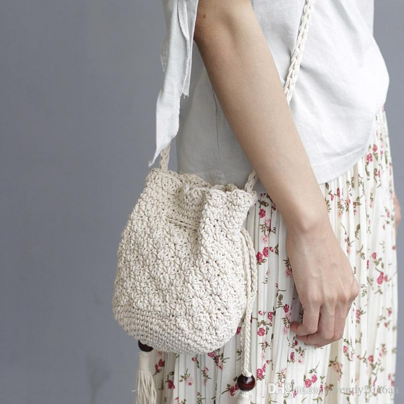 2018 New Tassel Shoulder Beach Bohemian bolsa feminina Women Crochet Fringed Messenger Bags Drawstring Bag Beige Crossbody bags