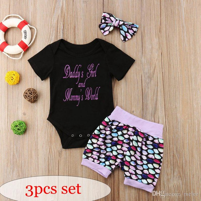 f872610aed2 2019 Daddy S Girl And Mommy S World Letter Print Girls Black Mermaid Scales  Rompers   Infant Pp Pants   Baby Headband Set Free Ship From Melee