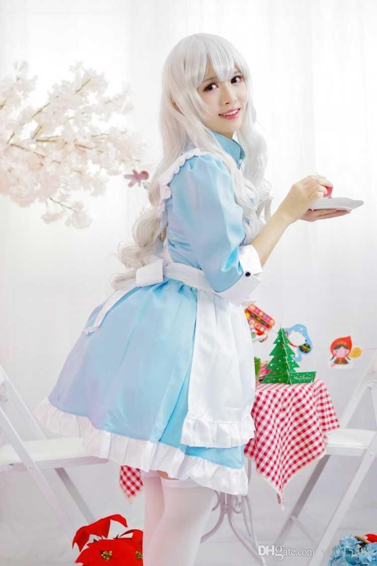 Free Shipping New sexy lingerie cosplay Charming female light blue maid Halloween one-piece dress cute charming anime maid outfit maid outfi
