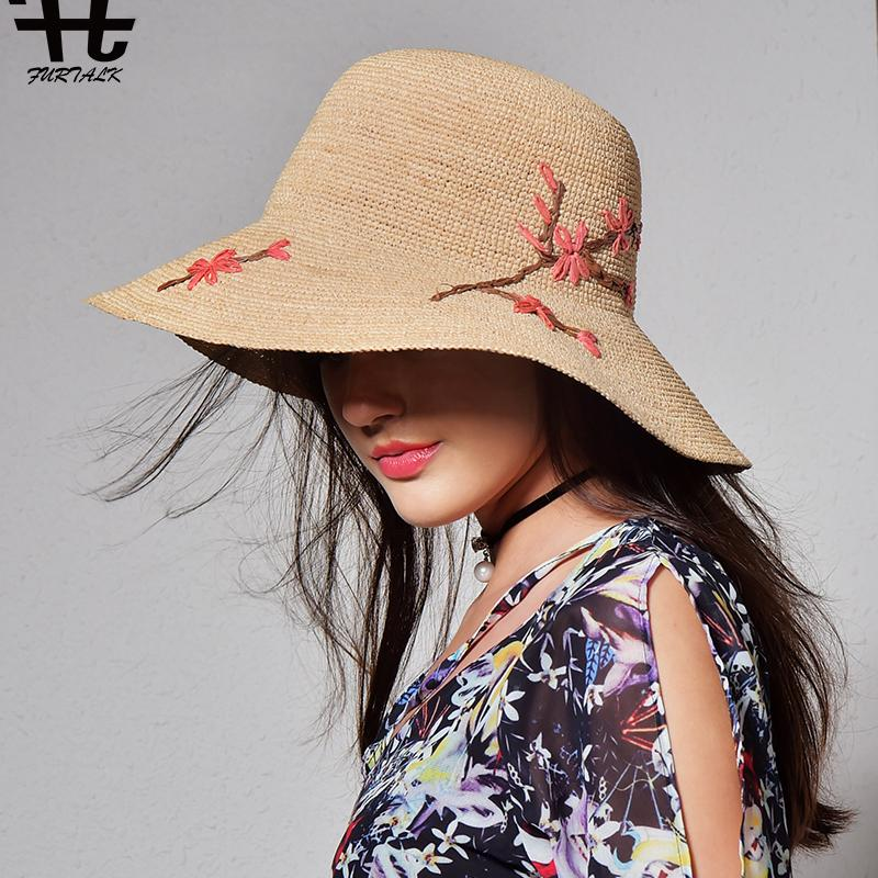 e3eedda0bca FURTALK Imported Raffia Summer Hat For Women Straw Hat For Beach Sun Travel  Bucket Panama Men Hats Baby Sun Hat From Nectarine99