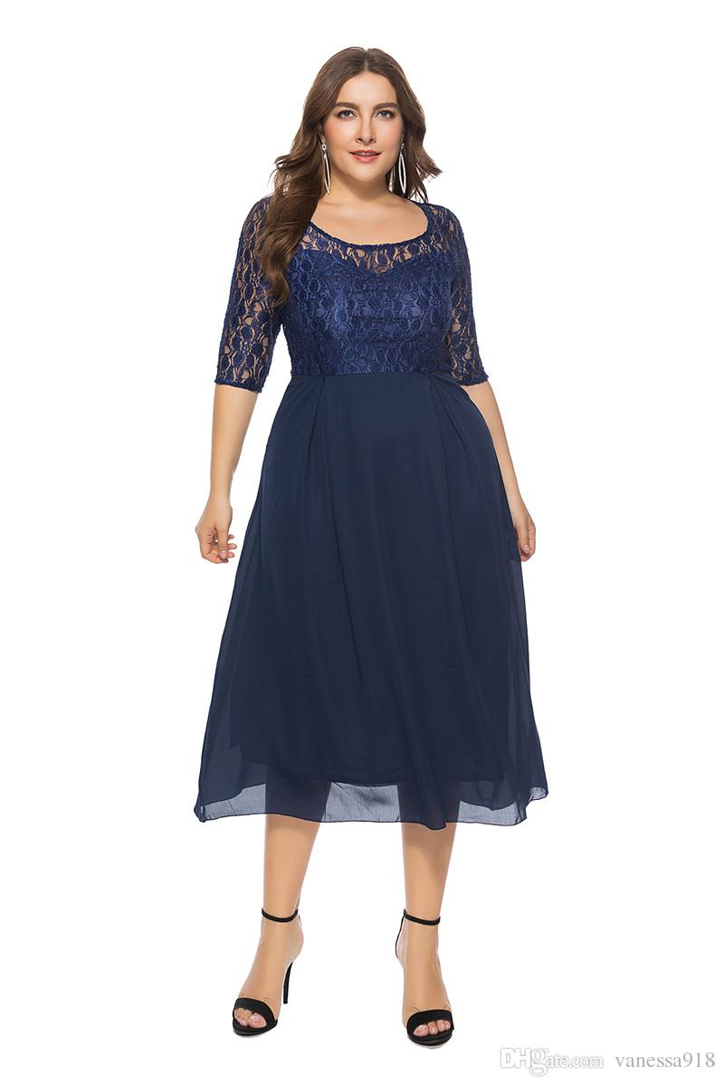 Large Size Style Hollow Out Lace Dress Women Loose Plus Size Elegant Mini  Dress Vestidos 6XL Three Quarter Sleeve navy blue SQ011