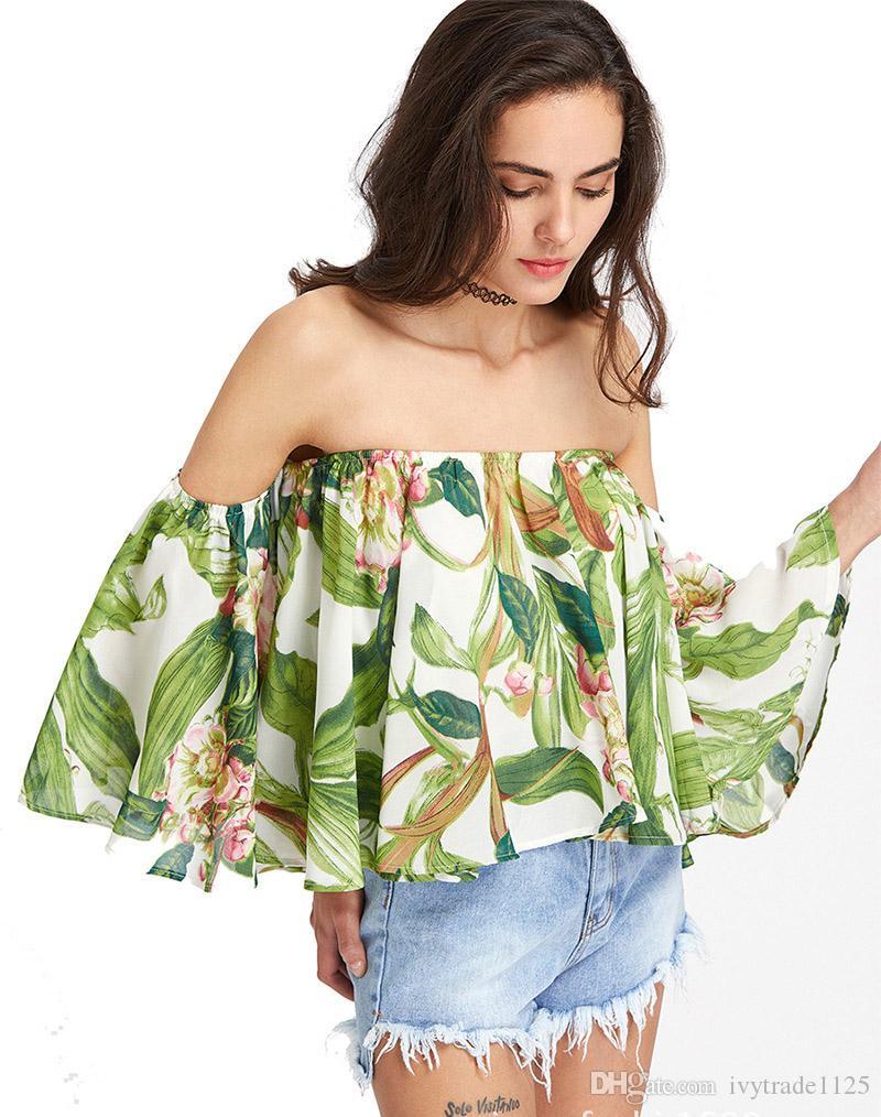 Euro-Art- und Weiseeinfache Art weg vom Schulter-Schrägstrich-Ansatz-Blatt-Entwurfst-shirt beiläufiges Sommerfrauen bequemes T-Shirt geben Schiff frei