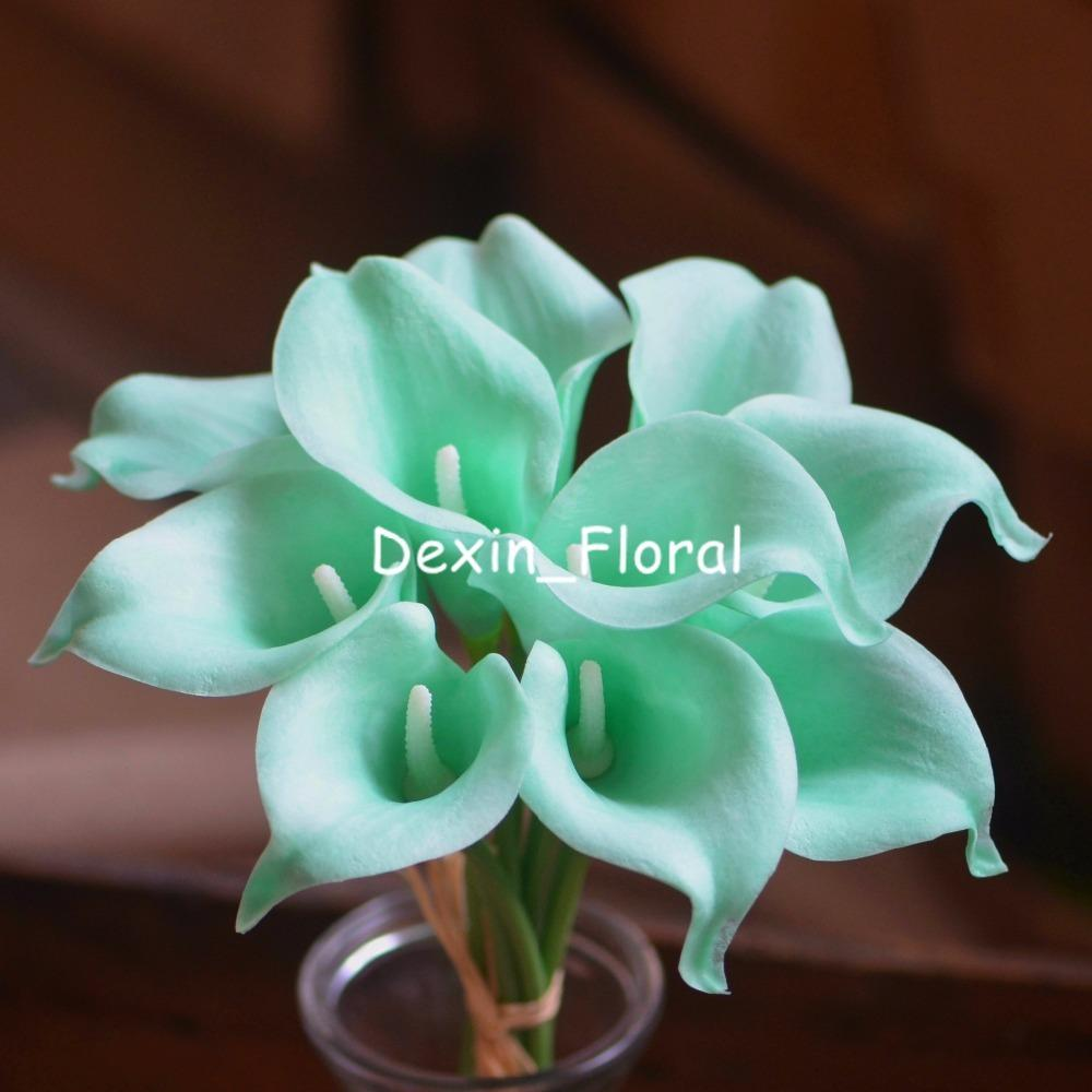 2018 Mint Green Calla Lilies Real Touch Flowers For Silk Wedding