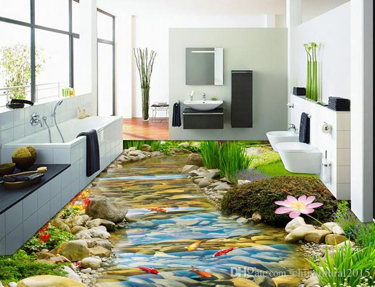 3D 배경 화면 자연 HD 스트림 금붕어 연꽃 3D는 3D 바닥 욕실 벽지 그리기