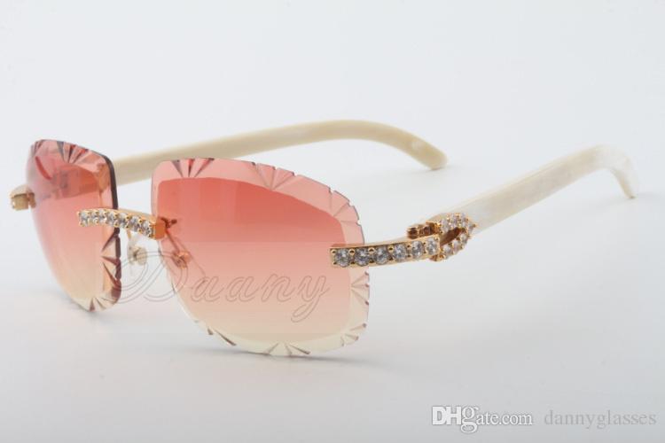 19 de mayor venta gafas de sol cuerno blanco natural, 8300075-A, de alto grado tamaño gafas de sol de lujo del diamante: 58-18-140 gafas de sol