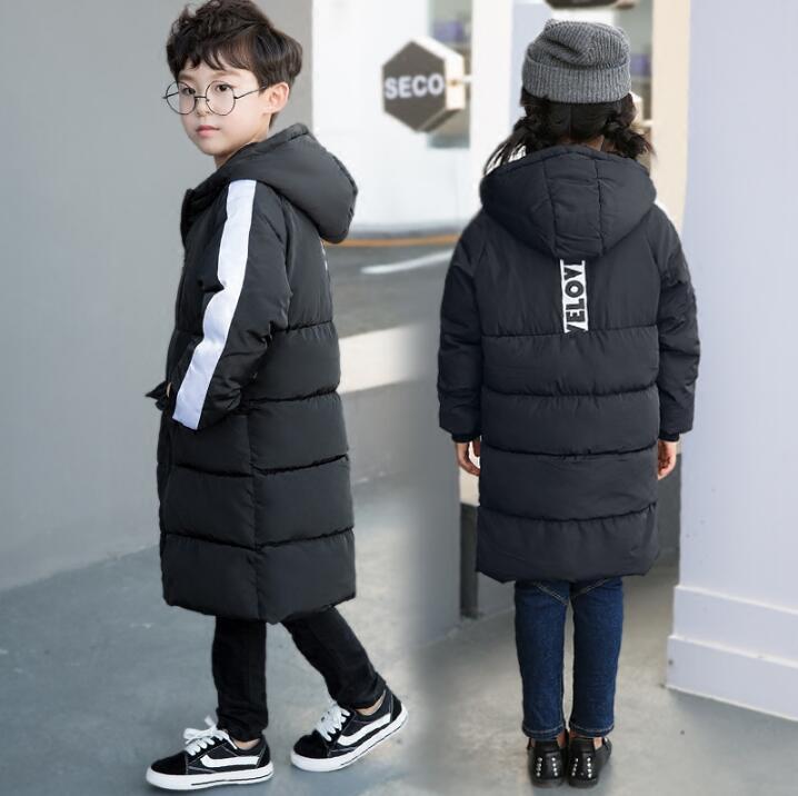 14d35ff4c51b 2017 New Kids Boys winter oats Jacket Korean Girls Thickened Children Long  Casual Coltsfoot Cotton Coats girls boys clothes