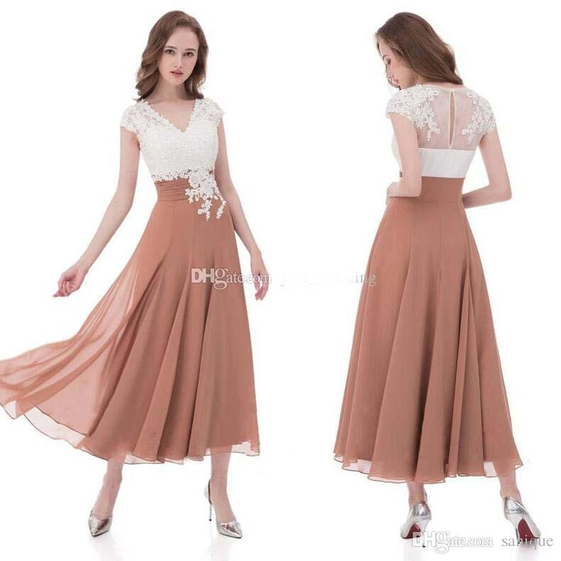 2018 Newest Mother Of The Bride Dresses V Neck Cap Sleeves Appliques Lace Chiffon Pleated Tea Length Wedding Guest Dresses Rose White Black
