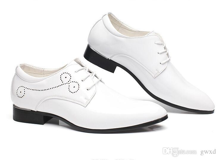 2018 New style Patent Leather Oxford Shoes For Men Dress Shoes Men Formal Shoes Pointed Toe Business Wedding Plus Size:37-47 G298
