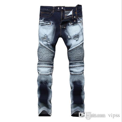 cbcee93b129ed 2019 Men S Jeans Men Designer Jeans Distressed Motorcycle Biker Jeans Sizes  28 42 Rock Revival Skinny Slim Ripped Hole Straight Men Denim Pa From  Vipss