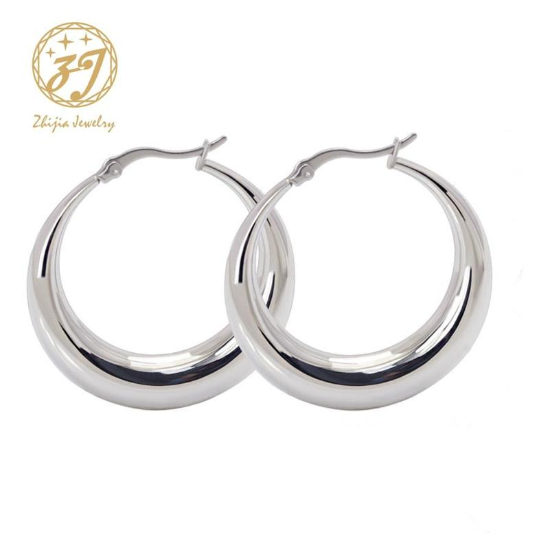 f1cc0340d 2019 Zhijia Stainless Steel Jewelry Earring Thick Casual Simple Round Small  Silver Hoop Earrings For Women From Goodwatchgood, $43.43 | DHgate.Com