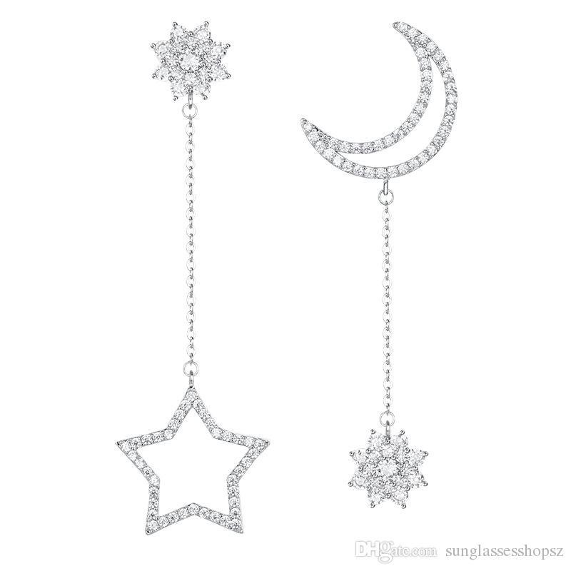 Orecchini in argento sterling S925 Orecchini a goccia a forma di stella lunga Luna Micro intarsiato Orecchini a zircone Earbob Orecchini in argento sterling anallergico