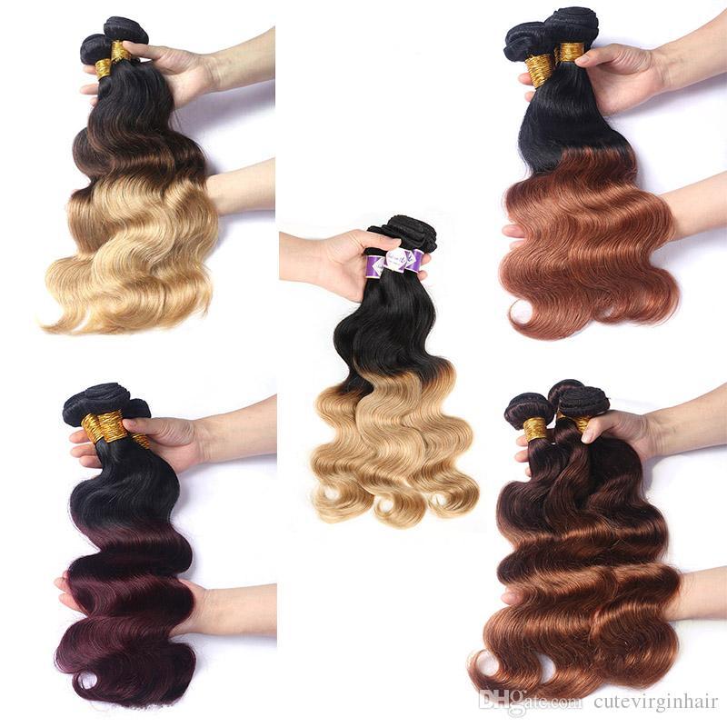 Ombre Colored Hair 3 Bundles Brasilianische Peruanische Malaysische Reine Menschenhaarwebart Körperwelle Ombre Colored Bundles Hair Vendors 12-24 Inch