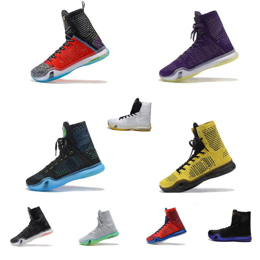7bc007ba73b0 2019 Cheap Men What The Kobe X 10 Elite High Tops Basketball Shoes Red Rose  Gold USA Purple Black White KB Air Flights Sneakers Boots For Sale From ...