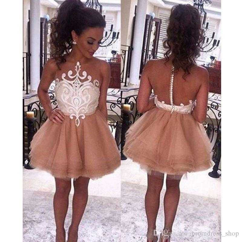 f12c9260e8e0 2019 A Line Jewel Sleeveless Short Champagne Prom Dresse With White Lace  Fashion Homecoming Dress Sexy Party Evening Gowns 2015 Dresses Affordable  Dresses ...