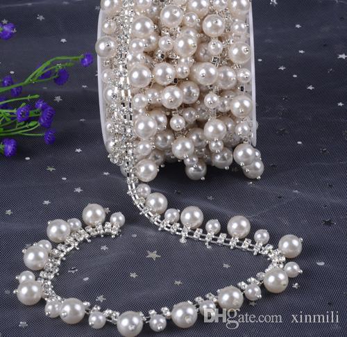 New 1yard pearl tassel tapes glass Crystal flower Clear Glass Rhinestone Bridal Trim Fashion Chain Silver Belt Sash Bags Shoes