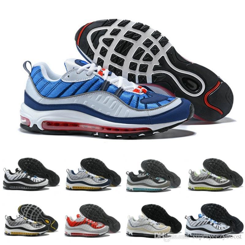 timeless design 2c456 ee51a Compre Nuevo Diseño Nike Air Max 98 OG es Rayas Zapatos Para Correr  Ocasionales Para Hombres Negro Blanco Rojo Caqui Para Hombre Botas Para  Caminar ...