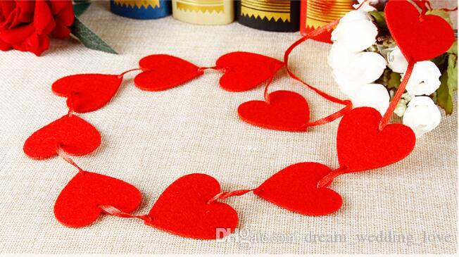 Wholesale Hearts Curtain used for wedding decorations christmas decorations and party DIY one piece 16 hearts with 2-3M red line WT071