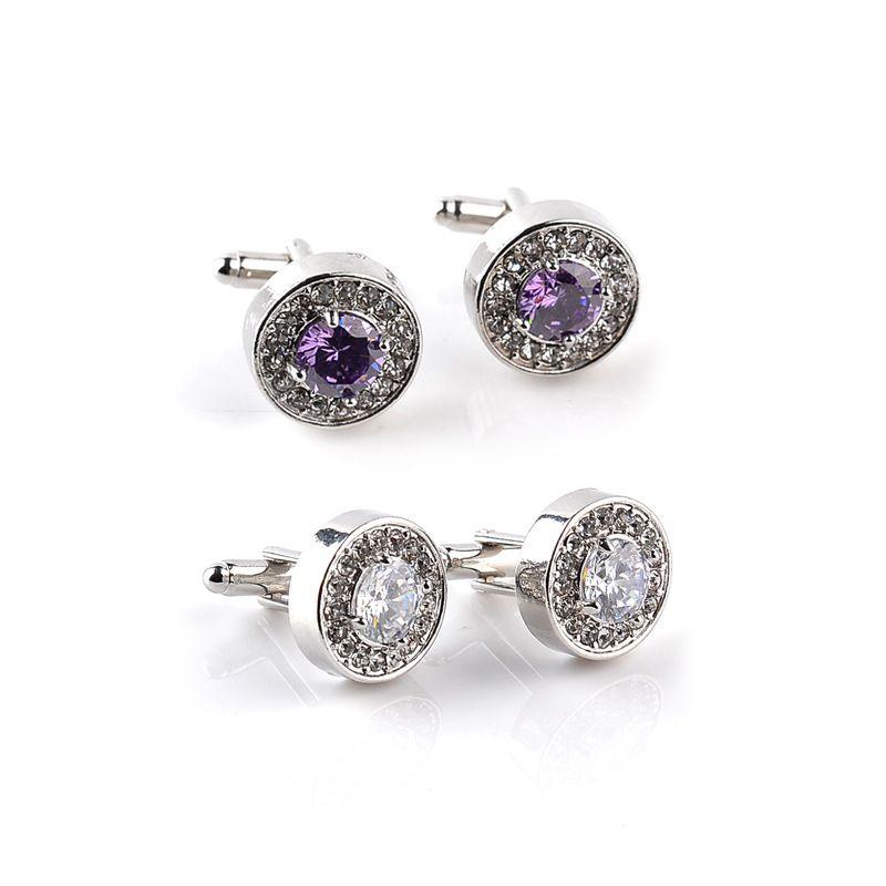 337a5bdacb16 2019 High Grade Round Crystal Style Cufflink For Gentleman Gifts Purple  Shirt Cufflinks High Quality Fashion Swarovski Brand Jewelry Ornaments From  ...