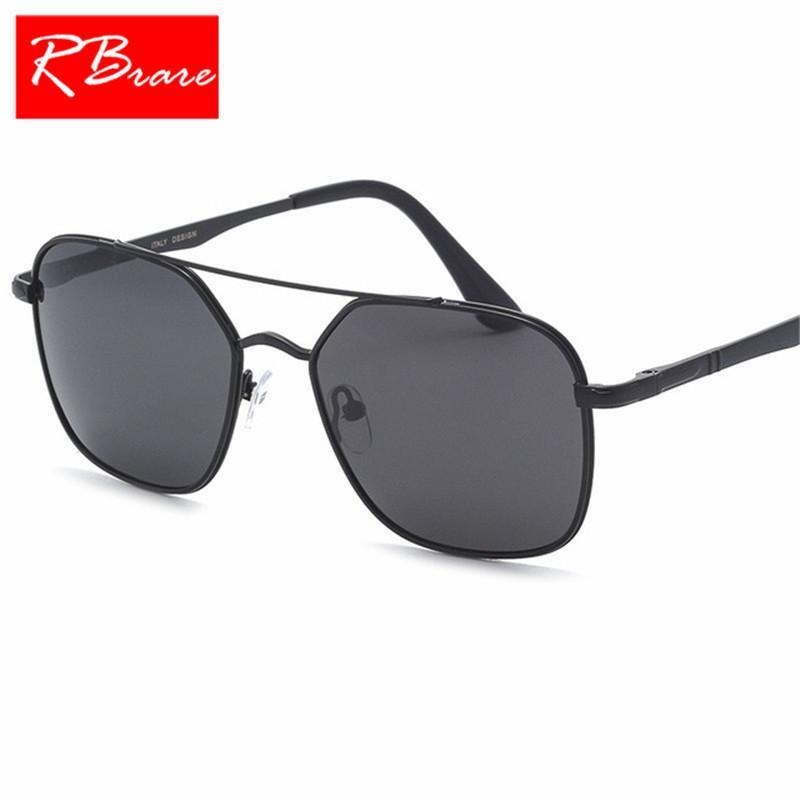 8fa89186f39 RBRARE 2018 Metal Frame Polarized Men s Sunglasses Double Beam Outdoor  Small Frame Sun Glasses For Men Lunette Soleil Homme Bifocal Sunglasses  Retro ...