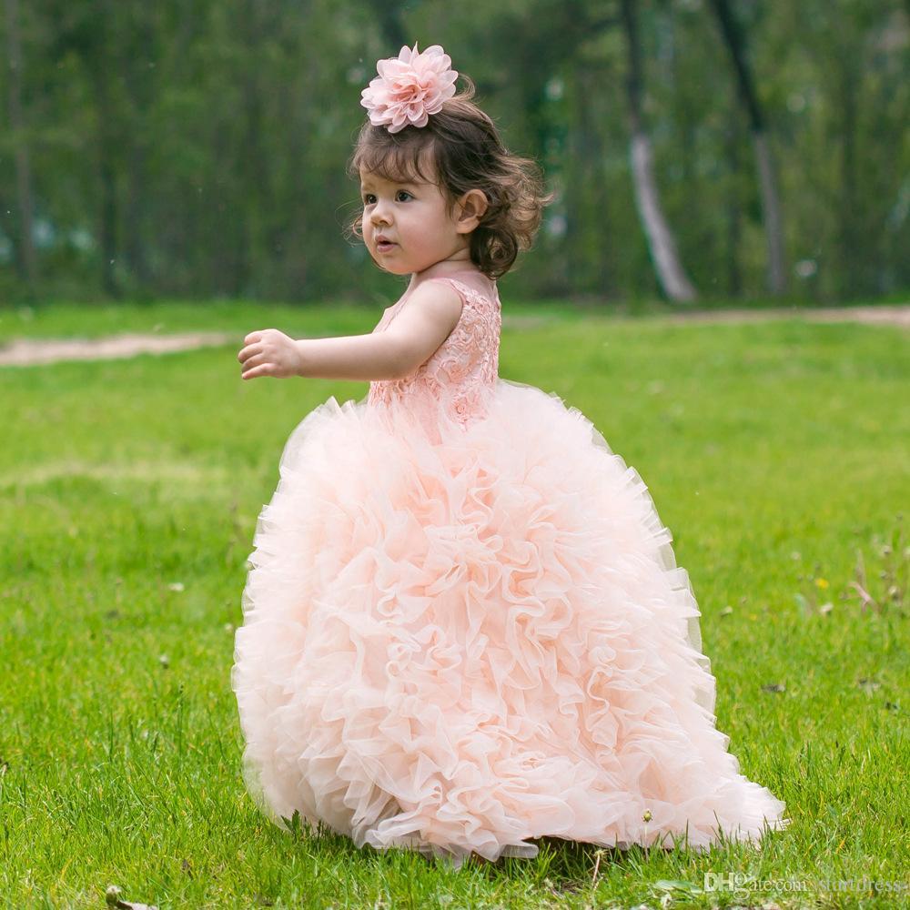 Vestido de baile Peach inchado plissado meninas saias Flor Meninas Vestidos 3d- Floral Apliques Meninas Pageant Vestido de Férias Jardim Borla Tulle cupcake